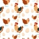 Chicken And Rooster Farming Seamless Pattern