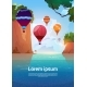 Air Balloons Flying Over Summer Sea Landscape