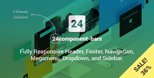 24component-bars - Fully Responsive Header, Footer, Navigation, Megamenu, Dropdown, and Sidebar