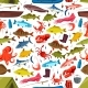 Fishes and Mollusks Fishing Vector Seamless