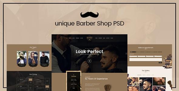 Unique - Barber Shop landing page PSD