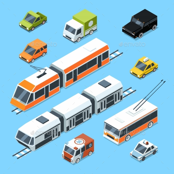 Isometric Municipal Transport Set