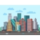 City Buildings Panorama Urban Architecture Vector