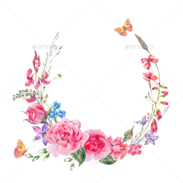 Watercolor Wreath with Wildflowers and Roses