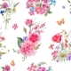 Watercolor Seamless Pattern with Wildflowers and