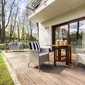Wooden porch with chairs