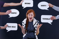 Woman surrounded by comments in speech bubbles