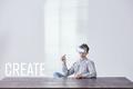 Creative worker wearing vr glasses