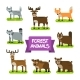 Forest Animals Set. Illustration in Flat Design.