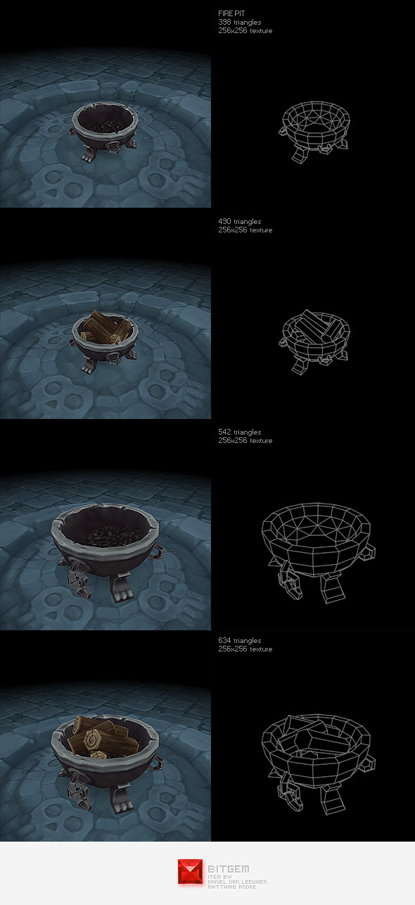 Low Poly Fire Pit Set - 3DOcean Item for Sale