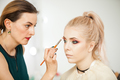 Professional Make up artist in working process