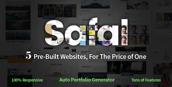 Safal: five-in-1 Responsive Multipurpose Adobe Muse Theme (Inventive)