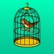 Bird in Cage Pop Art Style Vector Illustration
