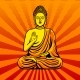 Buddha Statue Monument Pop Art Style Vector
