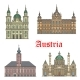 Austrian Travel Landmarks of Architecture Icon Set