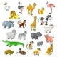 Zoo Animals with Birds and Pets Vector Cartoon Icons