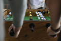 People Playing Enjoying Foosball Table Soccer Game Recreation Le