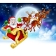 Santa Reindeer Sleigh Cartoon Christmas Scene