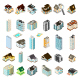 Isometric Houses and Apartments Icon Set