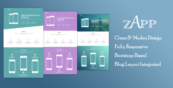 Zapp - App Landing Page Template With Blog