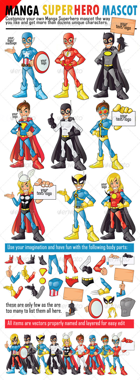 Manga Superhero Mascot - People Characters