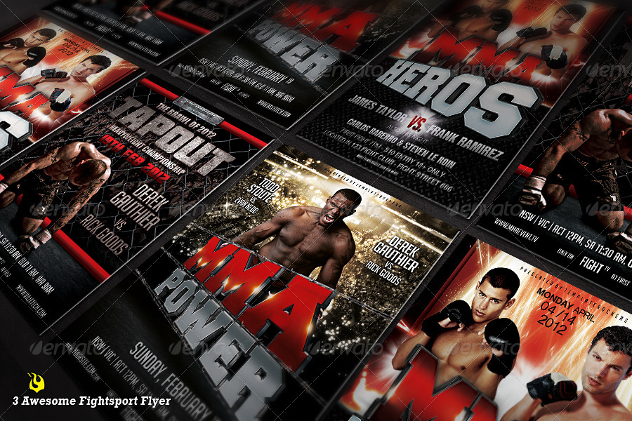 The Fight 2 Flyer Bundle | 3 Fightsport Flyers
