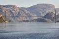 Norwegian fjord landscape. Hardanger bridge. Sorfjorden area. Visit Norway. Horizontal