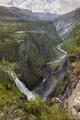Voringsfossen waterfall in Norway. Norwegian outdoor highlight attraction. Vertical