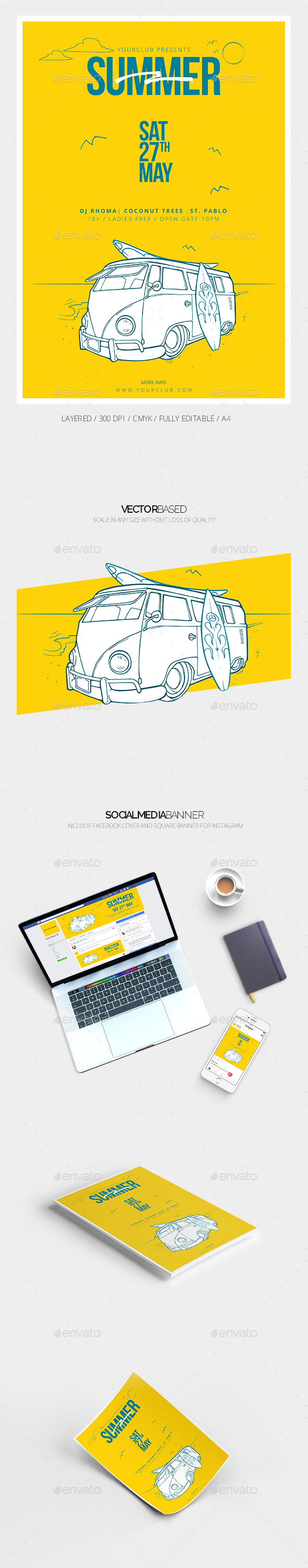Summer Flyer Template & Social Media Banner