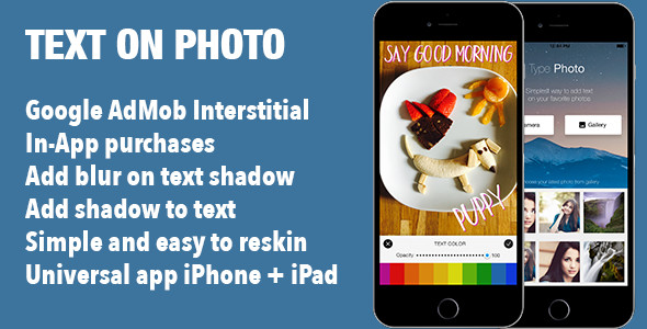 Add Text on Photo Image iOS Universal App Template