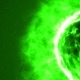 Futuristic Abstract Green Sun in Space with Flares.