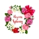 Wreath of Spring Flowers and Vector Bouquets