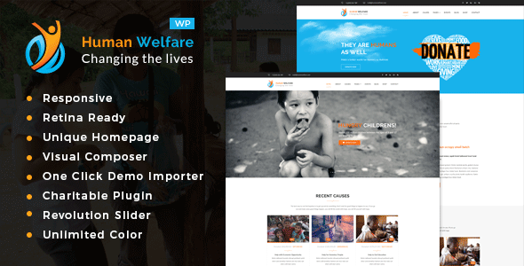 Human Welfare - Charity/Fundraising WordPress Theme