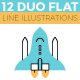 12 Duo Flat Line Web Banner Illustrations