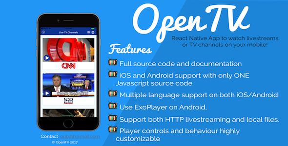 OpenTV – React Native App (Android/iOS) for Television Channels and livestreams (Mobile)