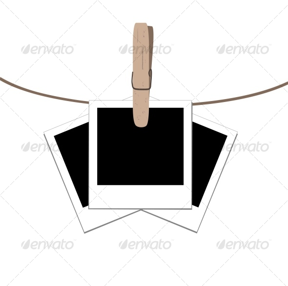 Graphic River  photo frames on the rope with the clothes peg Vectors -  Conceptual  Technology  Retro 75299