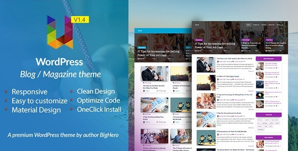 Unick - WordPress Blog / Magazine Material Design Theme