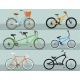 Different Types Bicycle Isolated Vector Set