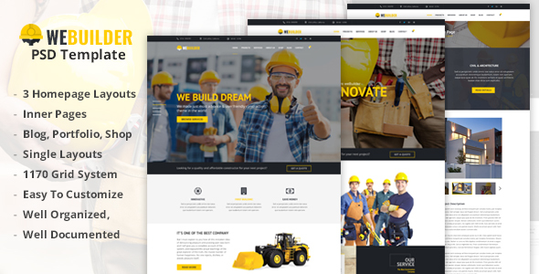 WEBUILDER - Construction & Building PSD Template
