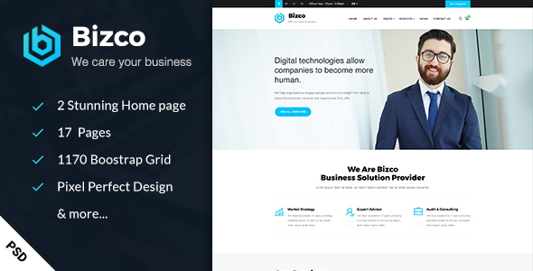 Bizco - Business & Consulting PSD Template