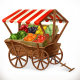 Cart with Fruits and Vegetables