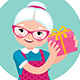Elderly Housewife Woman Shakes a Box with a Gift
