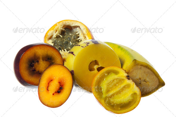 The tropical fruit on white background - Stock Photo - Images