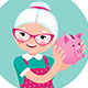 Grandmother in an Apron Shakes a Piggy Bank