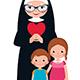 Senior Nun and Children Girl and Boy