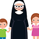 Senior Nun Holding Hands with Girl and Boy