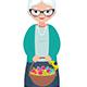 Senior Woman Holding a Basket Full of Easter Eggs