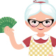 Senior Woman Housewife Holding a Bundle of Money