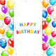 Birthday Card with Balloons and Confetti on White Background