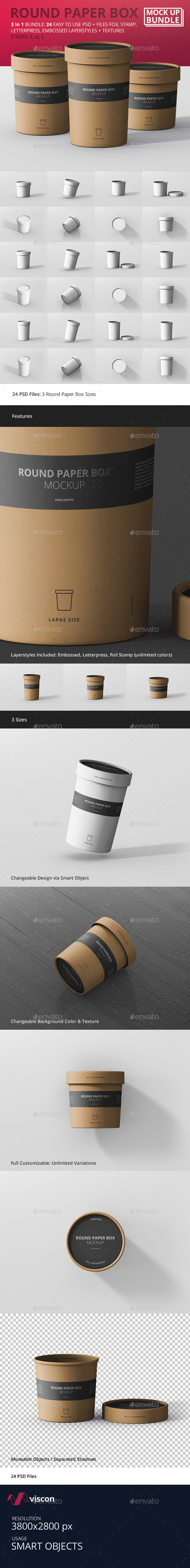 Round Paper Box Mockup Bundle